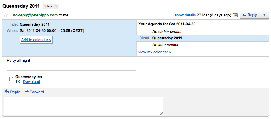 Screenshot of iCalendar mail in GMail