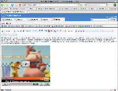 Screenshot of Youtube video in Xinha WYSIWYG mode